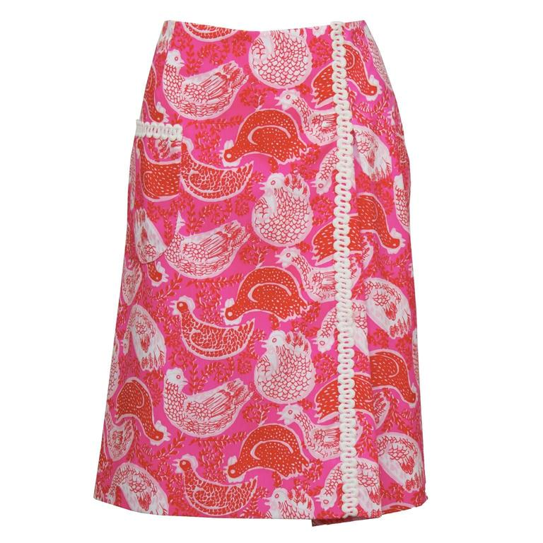 1960's Lilly Pulitzer Pink Rooster Print Skirt For Sale