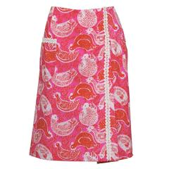 1960's Lilly Pulitzer Pink Rooster Print Skirt
