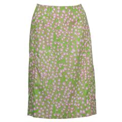 1960's Lilly Pulitzer Lime Green Lily Of The Valley Skirt