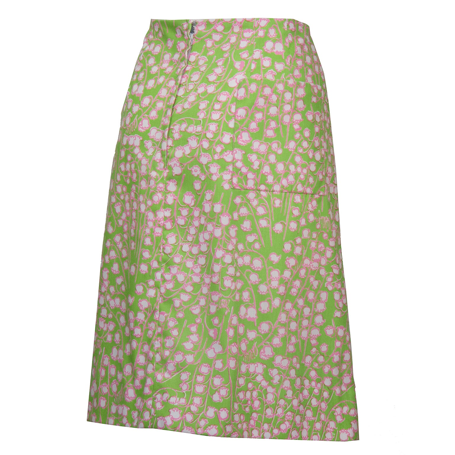 075720eaf2ca4 1960's Lilly Pulitzer Lime Green Lily Of The Valley Skirt