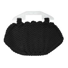 1940's Black Crochet Handbag with Plexi Handle