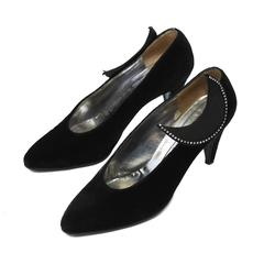 1980's Roger Vivier Black Velvet Pumps with Moon Applique