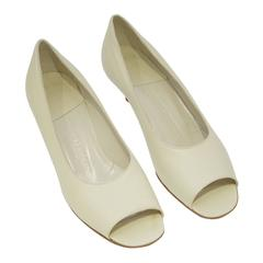 1980's Armani  Beige Leather Open Toe Kitten Heels