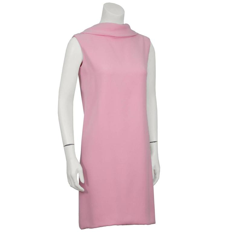 1960's Norell Pink Silk Scoop Back Mini Dress 2
