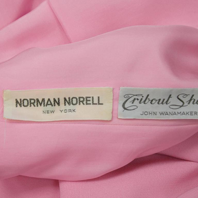 1960's Norell Pink Silk Scoop Back Mini Dress 5
