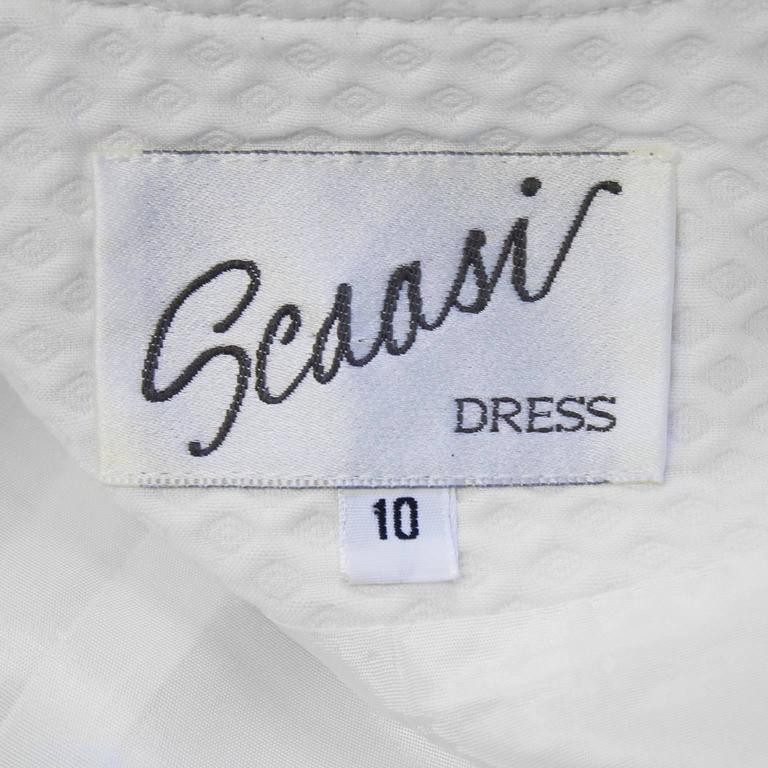 Women's 1980's Scaasi White Pique Double Breasted Dress For Sale