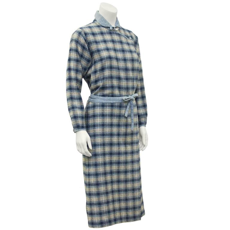 1973 Kenzo Jap Collection Plaid Wool Dress 2
