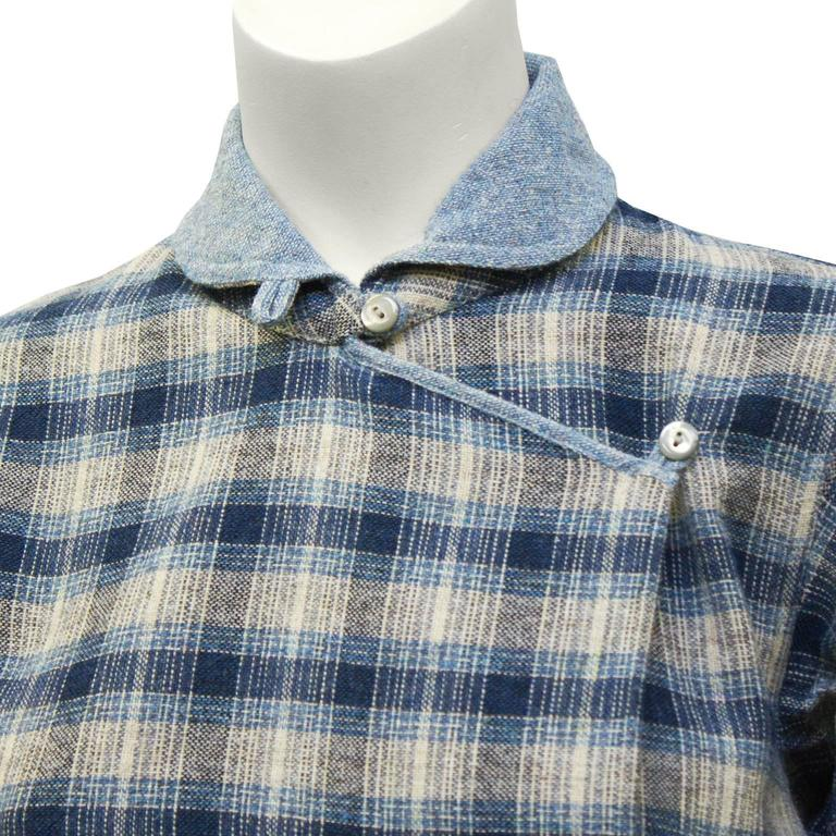 1973 Kenzo Jap Collection Plaid Wool Dress 4