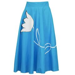 1950's Turquoise Circle Skirt with Tulip Applique