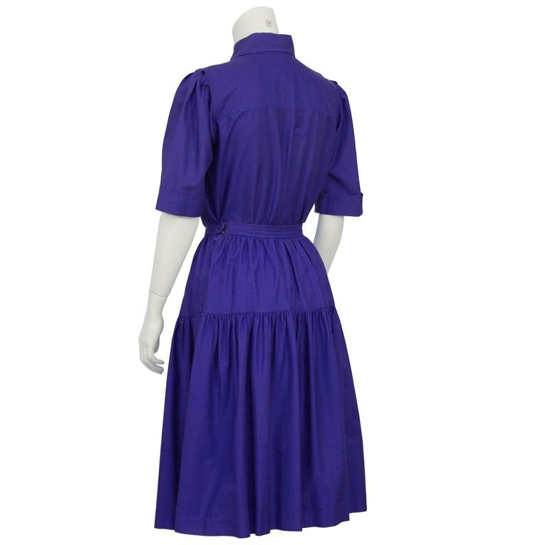 1970's Yves Saint Laurent/YSL Purple Cotton Skirt Ensemble In Excellent Condition For Sale In Toronto, CA