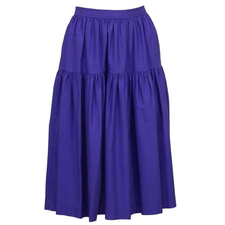 Women's 1970's Yves Saint Laurent/YSL Purple Cotton Skirt Ensemble For Sale