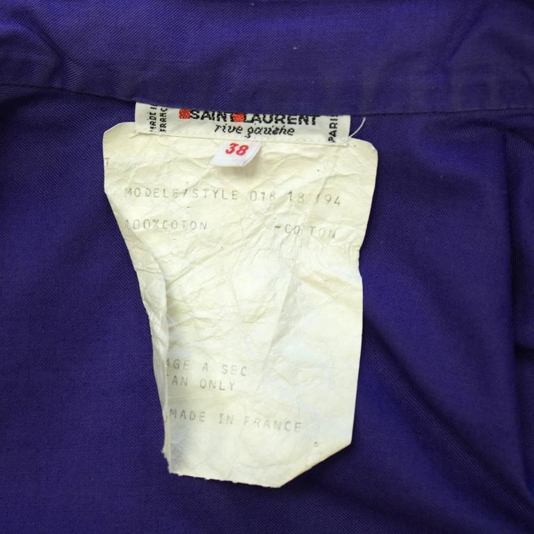 1970's Yves Saint Laurent/YSL Purple Cotton Skirt Ensemble For Sale 2