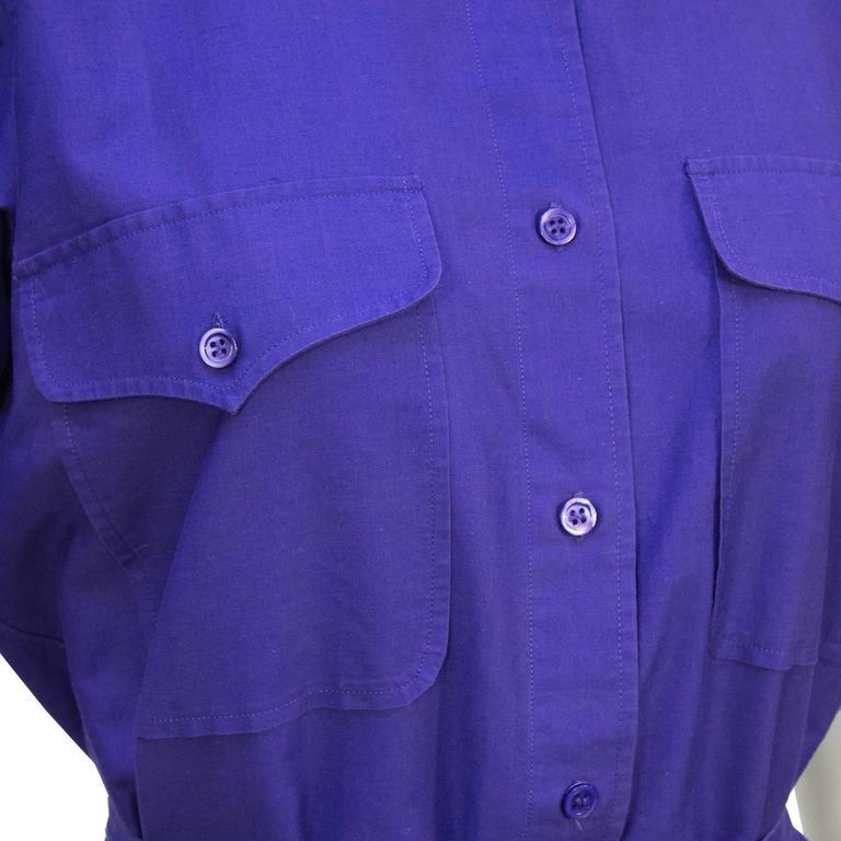 1970's Yves Saint Laurent/YSL Purple Cotton Skirt Ensemble For Sale 1