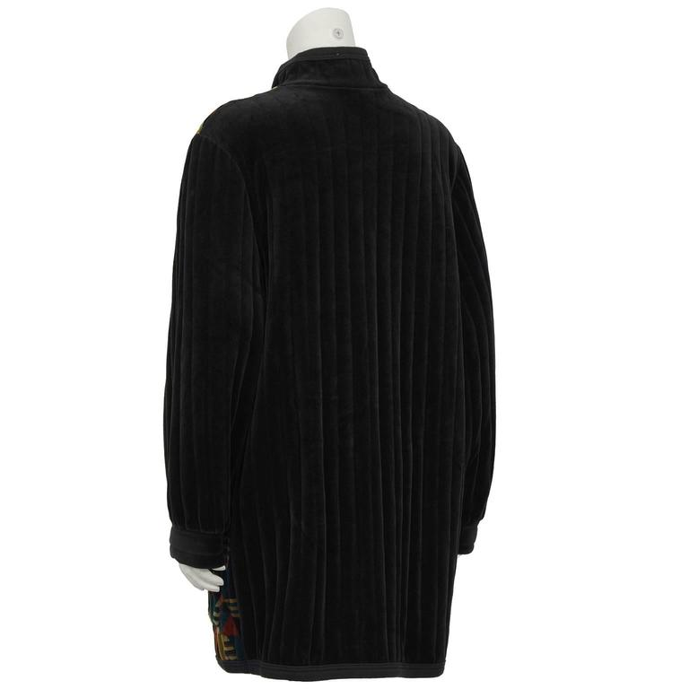 Black 1980's Yves Saint Laurent/YSL Quilted Velour Car Coat For Sale