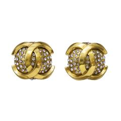 1990's Chanel Dome Rhinestone Clip Earrings