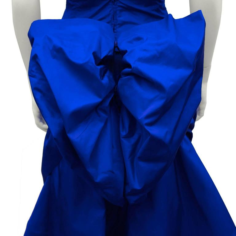 Women's 1980's Royal Blue Silk Taffeta Cocktail Dress With Back Bow and Crinoline For Sale