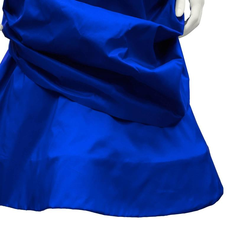 1980's Royal Blue Silk Taffeta Cocktail Dress With Back Bow and Crinoline For Sale 1