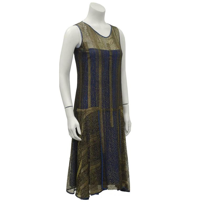 1920's Gold and Navy Lace Art Deco Flapper Dress 2