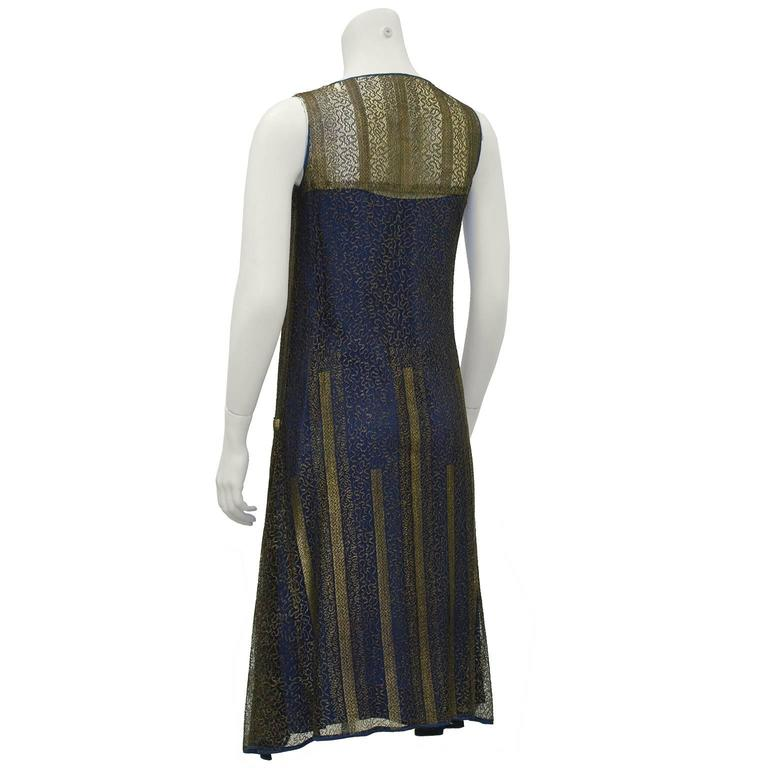 1920's Gold and Navy Lace Art Deco Flapper Dress 3