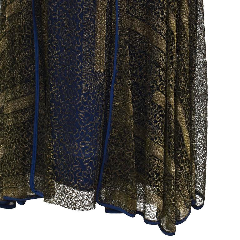 1920's Gold and Navy Lace Art Deco Flapper Dress 4