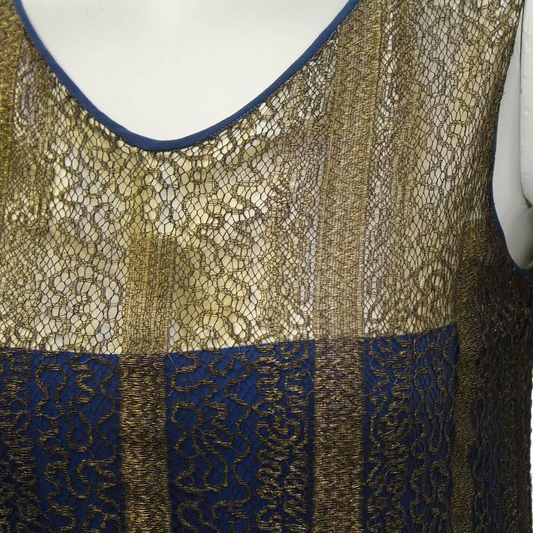 1920's Gold and Navy Lace Art Deco Flapper Dress 5