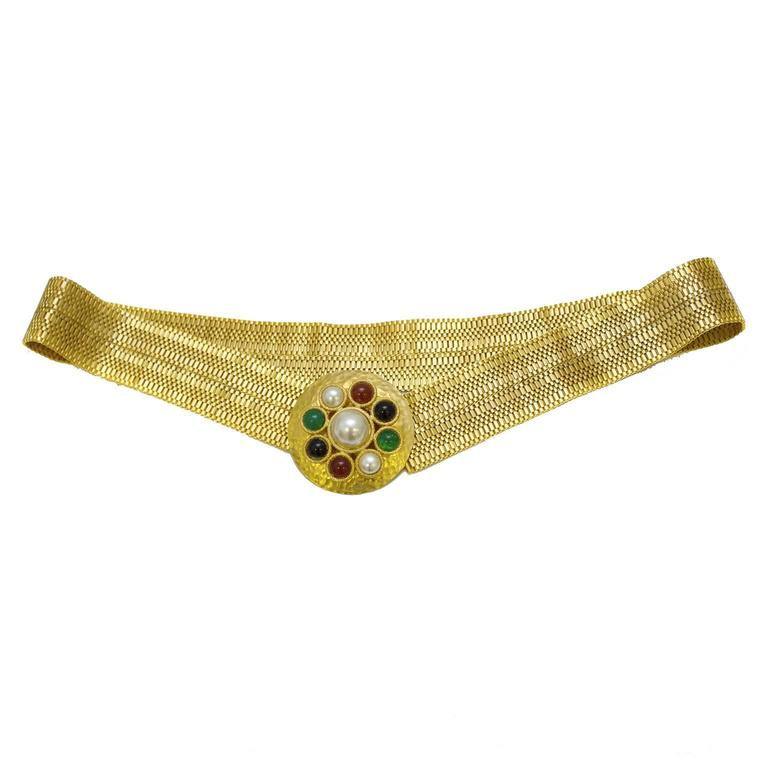 1980's Gold Mesh Belt with Poured Glass Buckle