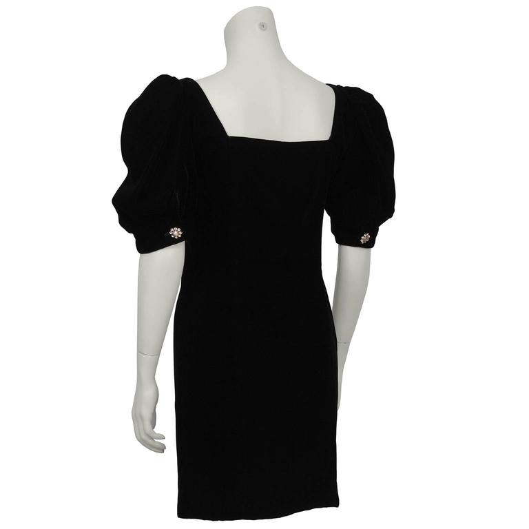 1980's Lillie Rubin Black Velvet Cocktail Dress with Rhinestone Buttons In Excellent Condition For Sale In Toronto, Ontario
