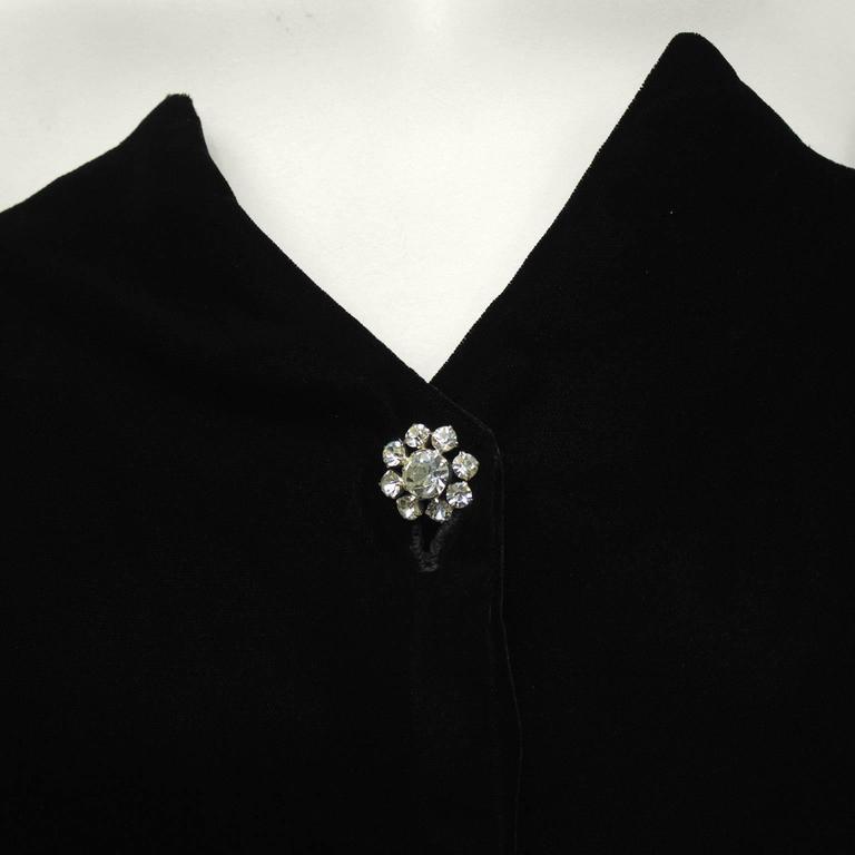 1980's Lillie Rubin Black Velvet Cocktail Dress with Rhinestone Buttons For Sale 1