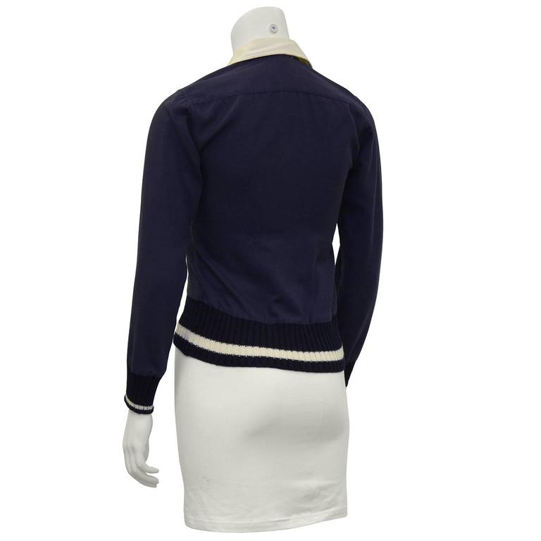 1970's Margaret Howell Navy Wool Gabardine Top  3