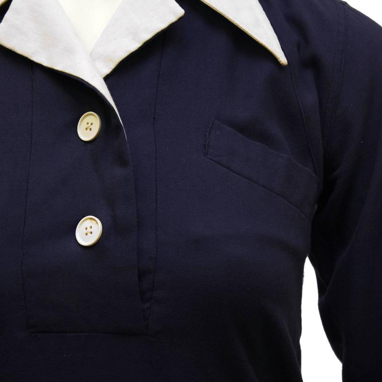 1970's Margaret Howell Navy Wool Gabardine Top  4