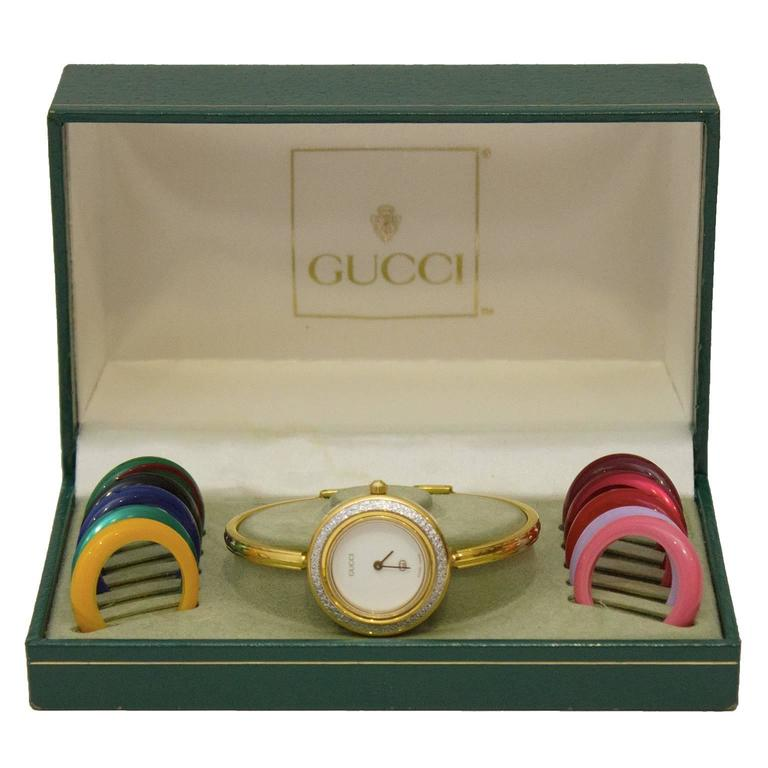 12ca8d4e505 Gucci Bracelet Watch With Interchangeable BezelsLeather Name Bracelets