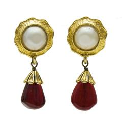 Early 1980's Chanel Pearl and Poured Glass Drop Earrings
