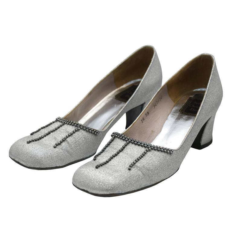 1960's Christian Dior Couture Silver Chink Heels with Diamante Detail For Sale