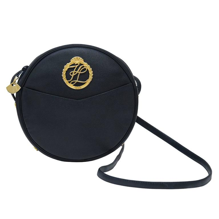1980's Karl Lagerfeld Midnight Blue Leather Round Crossbody Bag