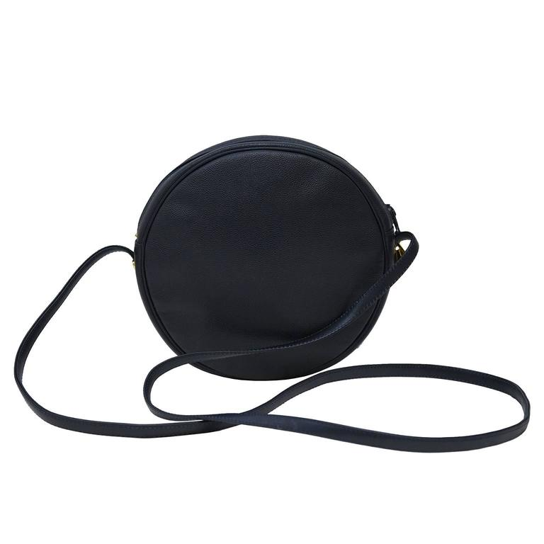 Midnight Blue Pebbled Leather Round Crossbody Bag By Karl Lagerfeld From The 1980 S Zip Top