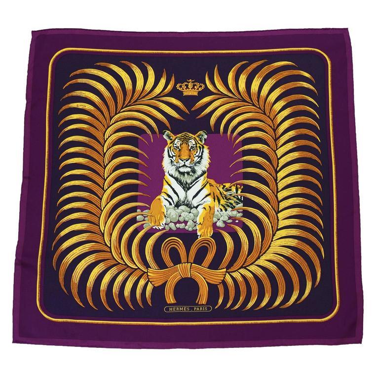 1992 Hermes Tigre Royal Silk Scarf At 1stdibs