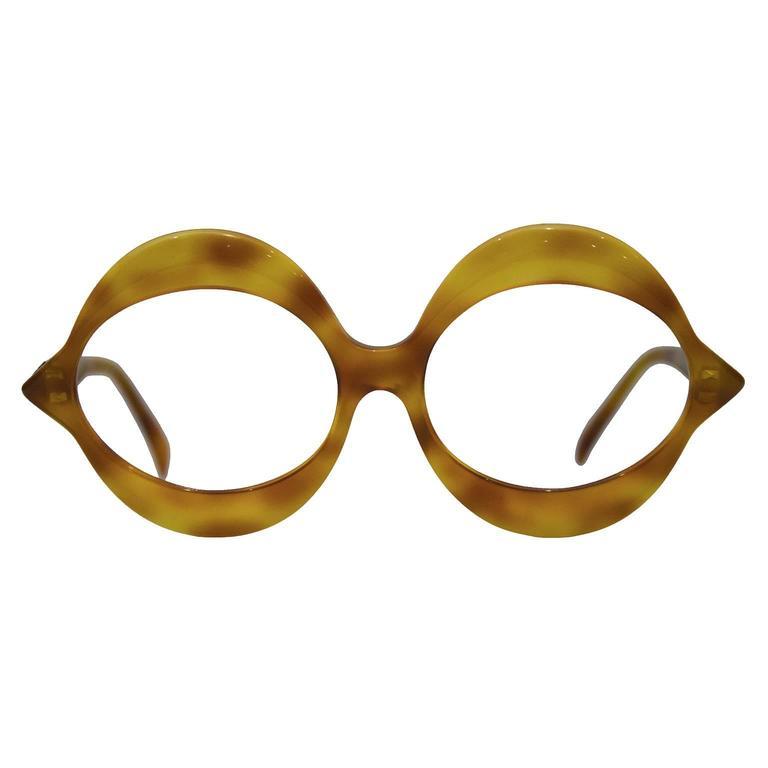1970\'s Pierre Cardin Light Tortoise Round Frame Glasses at 1stdibs