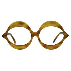 1970's Pierre Cardin Light Tortoise Round Frame Glasses