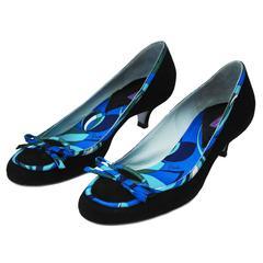 2000's Emilio Pucci Black Kitten Heels With Print Trim