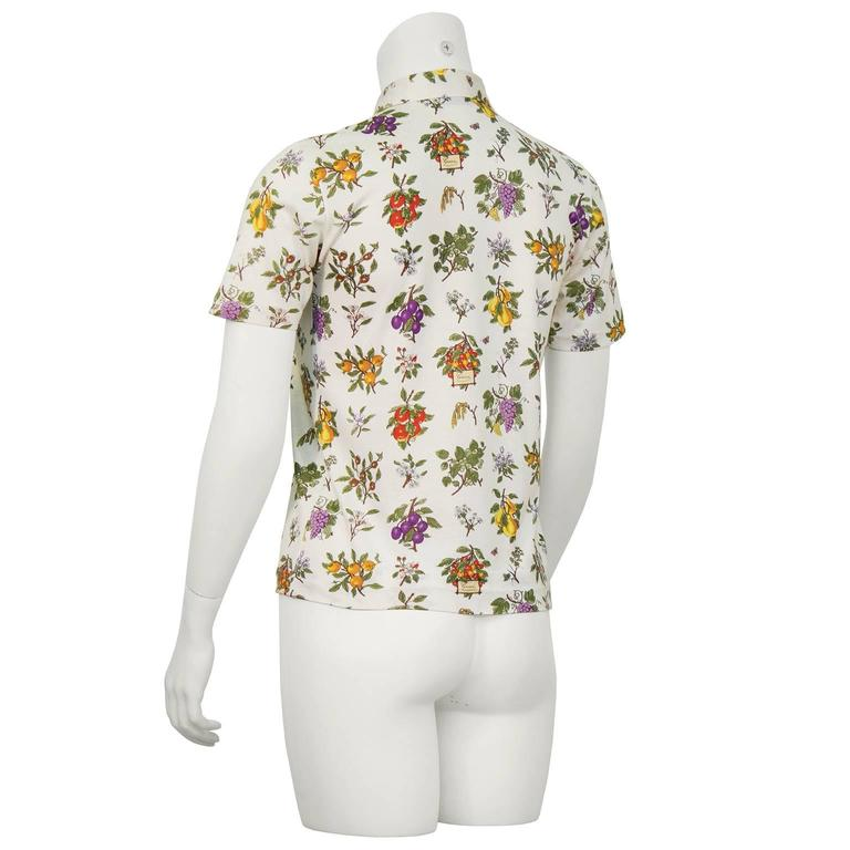 Gray 1970's Gucci Floral Polo Top For Sale