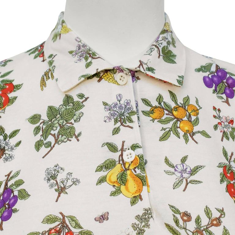 1970's Gucci Floral Polo Top In Good Condition For Sale In Toronto, CA