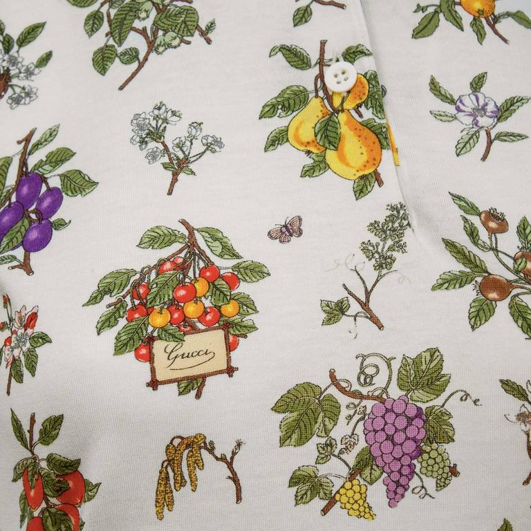 Women's 1970's Gucci Floral Polo Top For Sale