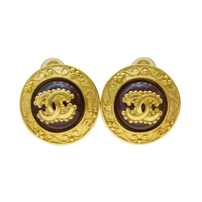 Chanel 1996 Autumn Glass And Gold Plated Clip On Earrings For Sale