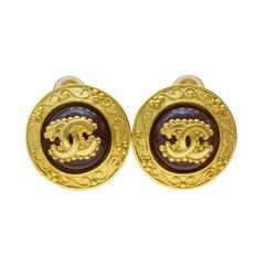 Chanel 1996 Autumn Glass And Gold Plated Clip On Earrings