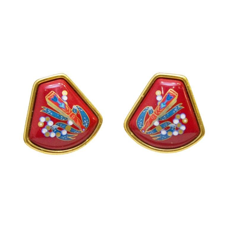1980's Hermes Red Enamel Clip On Earrings