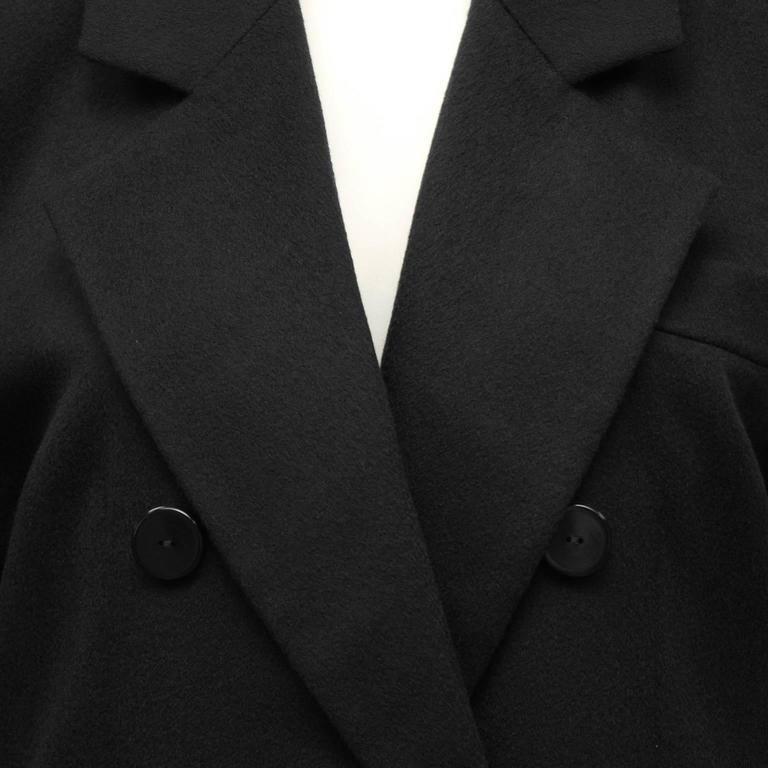 Women's or Men's 1980's Yves Saint Laurent YSL Black Cashmere Double Breasted Blazer For Sale