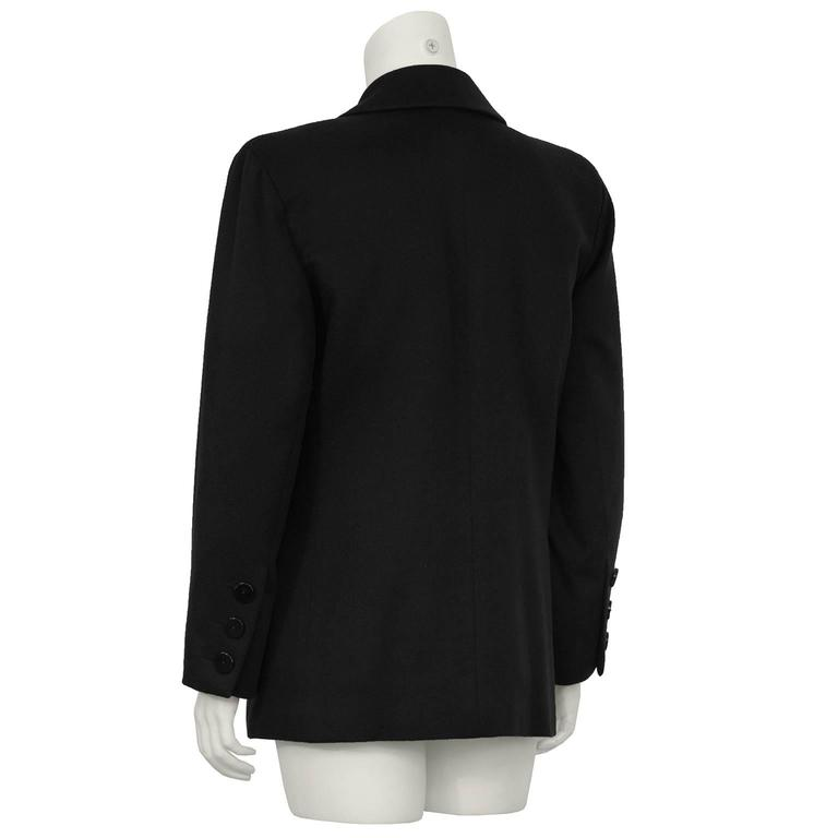 1980's Yves Saint Laurent YSL Black Cashmere Double Breasted Blazer In Excellent Condition For Sale In Toronto, Ontario