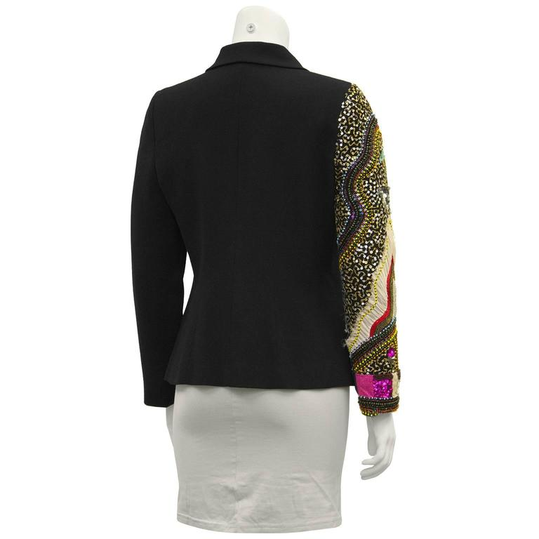 Black Early 2000 Christian Lacroix Jeweled Wool Blazer For Sale