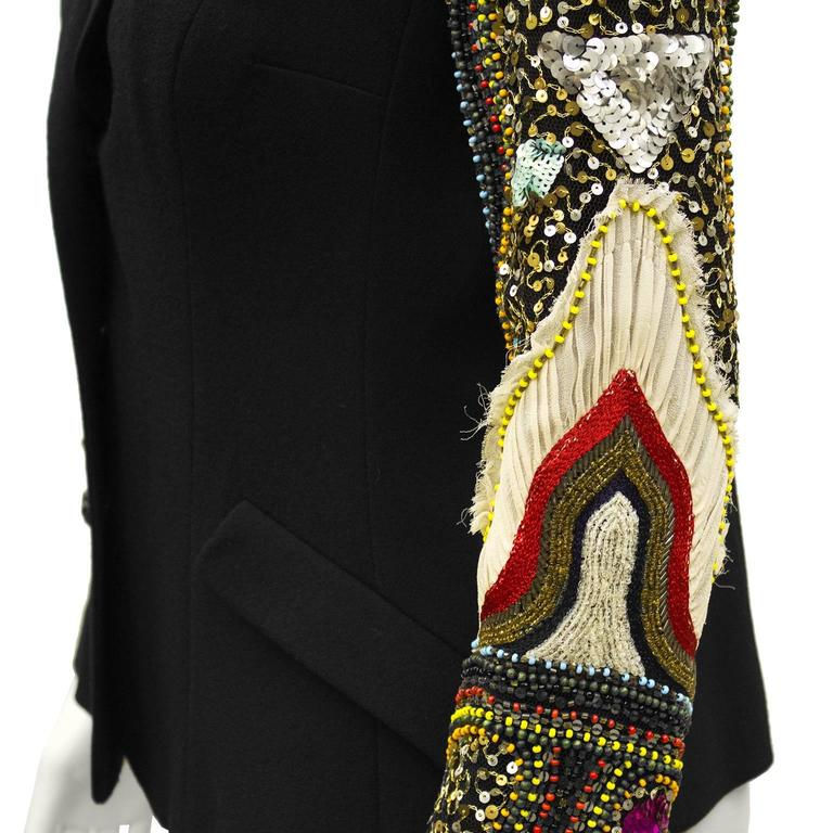 Early 2000 Christian Lacroix Jeweled Wool Blazer In Excellent Condition For Sale In Toronto, CA