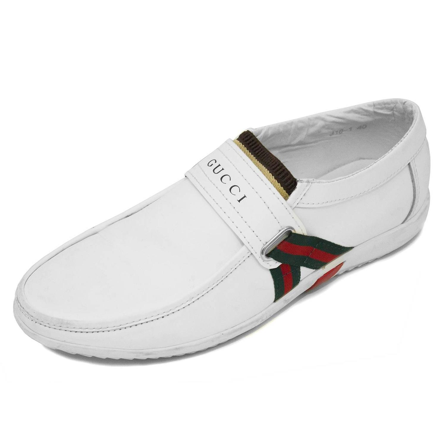Lyst - Gucci New Ace Web Leather & Camain Sneakers in ... |White Gucci Dress Shoes For Men